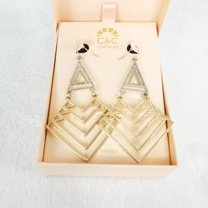 C&C California Geometric Triangle Earrings